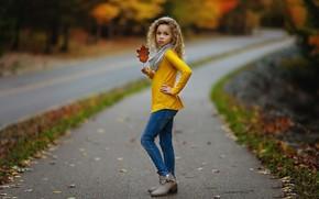 Картинка дорога, осень, девочка