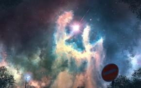 Картинка небо, ночь, фэнтези, дорожный знак