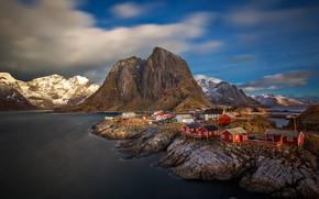 Картинка море, дома, Норвегия, Хамнёй