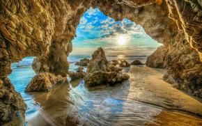Обои песок, море, пляж, небо, солнце, облака, камни, скалы, побережье, HDR, горизонт, Калифорния, США, Malibu Beach