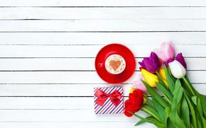 Картинка цветы, сердце, colorful, тюльпаны, heart, wood, cup, romantic, tulips, coffee, чашка кофе