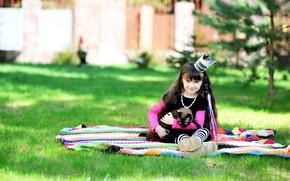 Картинка кошка, лето, трава, улыбка, девочка