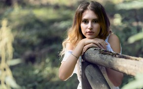 Картинка взгляд, девушка, модель, волосы, боке, Chiara
