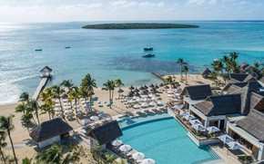Картинка пляж, пальмы, океан, бассейн, курорт, Маврикий, Mauritius, Indian Ocean, Preskil Island Resort