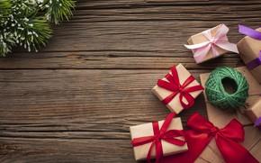 Картинка Рождество, лента, подарки, Новый год, ёлка, нитки, Happy New Year, Christmas, New Year, gift, Happy …