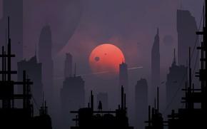 Картинка Город, Луна, Силуэт, Небоскребы, Арт, Фантастика, Digital Art, Sci-Fi, Skyscrapers, Спутники, Kvacm, Moons, by Kvacm, …