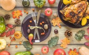 Картинка осень, листья, фон, яблоки, курица, colorful, тыква, фрукты, орехи, клен, овощи, шишки, wood, autumn, leaves, …