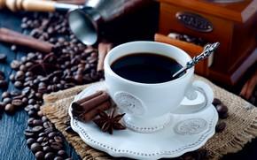 Картинка кофе, зерна, чашка, специи