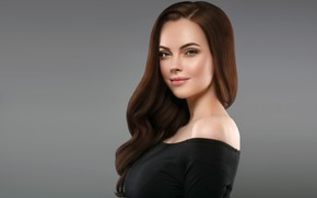 Картинка взгляд, лицо, поза, макияж, прическа, woman, hair, brunette, portrait, Ryabusjkina Irina
