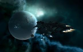 Картинка космос, туманность, планета, станция, space, космический корабль, station, eve online, space ship, космоопера