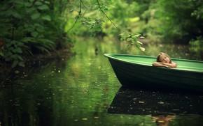 Картинка лето, листья, ветки, природа, лодка, девочка, ребёнок, водоём, Марианна Смолина