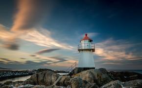 Картинка море, закат, камни, маяк, Норвегия, лестница, Лофотенские острова, Лофотены