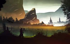 Картинка горы, замок, скалы, водоём, Northern Kingdom