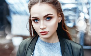 Картинка girl, brown hair, photo, photographer, blue eyes, model, bokeh, lips, face, brunette, t-shirt, portrait, jacket, …