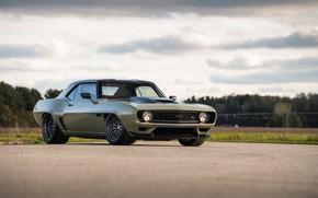 Картинка Дорога, Chevrolet, 1969, Camaro, Фары, Chevrolet Camaro, Muscle car, Classic car, Wide Body Kit, Sports …