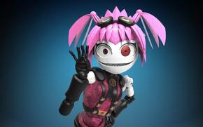 Картинка фон, кукла, розовые волосы