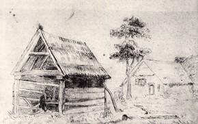 Картинка дерево, деревня, Vincent van Gogh, Barn and Farmhouse