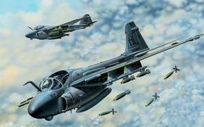 Картинка облака, пара, полёт, самолёт, бомбы, Grumman, палубный, ударный, US Navy, A-6 Intruder