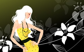 Картинка цветы, улыбка, темный фон, пояс, бусы, smile, flowers, большая грудь, beads, belt, yellow dress, big …