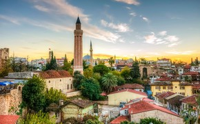 Картинка дома, панорама, Турция, Анталья, Yivli Minare, минарет Йивли