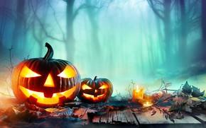 Картинка осень, листья, свечи, Halloween, тыква