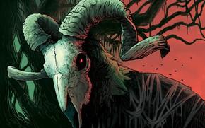 Картинка Череп, Стиль, Демон, Fantasy, Рога, Арт, Art, Style, Фантастика, Fiction, Illustration, Demon, Horns, Creatures, by …