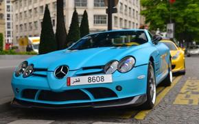 Картинка McLaren, SLR, blue, Mercedes - Benz, SLR McLaren, 722 Edition, London, matte