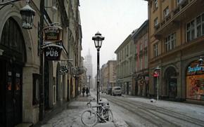 Картинка Дома, Зима, Снег, Улица, Фонарь, Велосипед