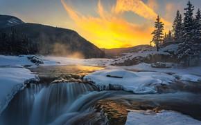 Картинка зима, снег, пейзаж, горы, природа, река, водопад, лёд, утро, Канада, леса, Elbow Falls