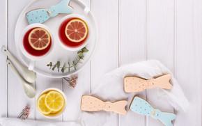 Картинка лимон, чай, печенье