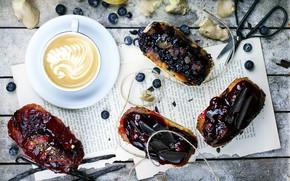 Картинка ягоды, кофе, шоколад, черника, выпечка, джем, кексы
