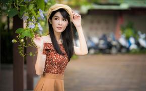 Картинка девушка, поза, азиатка, милашка, боке