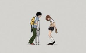 Картинка девушка, фон, парень, To Aru Majutsu No Index
