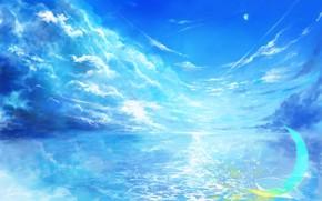 Картинка небо, вода, фэнтези, полумесяц