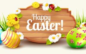 Картинка цветы, рендеринг, яйца, весна, Пасха, разноцветные, Easter