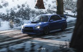 Картинка Subaru, Impreza, Microsoft, game art, Forza Horizon 4, by Wallpy