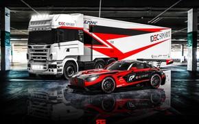 Обои Авто, Машина, Грузовик, Mercedes, Mercedes Benz, AMG, GT3, Суперкар, Рендеринг, Concept Art, Спорткар, Техничка, Transport ...