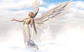Картинка небеса, ангел, тога