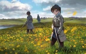 Картинка цветы, оружие, девушки, луг, солдаты