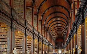 Картинка библиотека, Ирландия, Дублин, Тринити-колледж