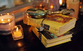 Обои candles, table, clock, miscellanea, magnifying glass, Books, pocket watch