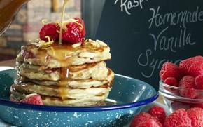 Картинка ягоды, малина, завтрак, мёд, оладьи