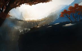 Картинка Горы, Робот, Деревья, Стиль, Fantasy, Пейзаж, Арт, Art, Landscape, Robot, Style, Фантастика, Mountains, Illustration, Trees, …