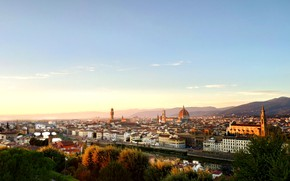 Картинка city, tower, cathedral, river, Italy, Florence, buildings, architecture, roofs, cityscape, dome, Tuscany, church