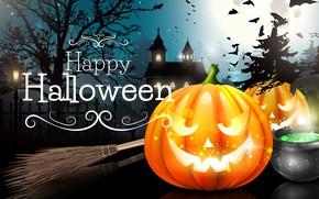 Картинка тыквы, Halloween, Хэллоуин, ночь, замок