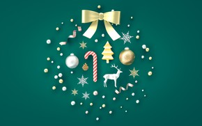 Картинка зима, снежинки, зеленый, фон, праздник, рождество, бант, композиция, новый год.