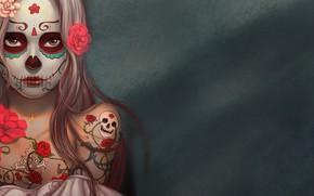 Картинка skull, girl, rose, minimalism, flowers, tattoo, digital art, artwork, simple background, fantasy girl, bare shoulders, …