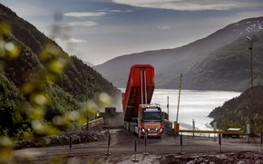 Картинка дорога, Volvo, кузов, седельный тягач, трёхосный, полуприцеп, Volvo FH