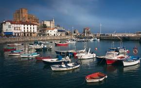 Картинка море, пейзаж, здания, дома, лодки, причал, Испания