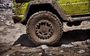 Картинка жёлтый, Mercedes-Benz, колесо, грязь, внедорожник, 4x4, G500, G-Class, 2015, G 500, 4x4², V8 biturbo